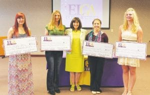 ELGA Credit Union presented five scholarships. From left are: Kelsey Bees; Miranda Eastwood, CEO; Karen Church, Katelyn Goff, Samantha Dunning (not pictured-Benjamin Ranger Jr.).