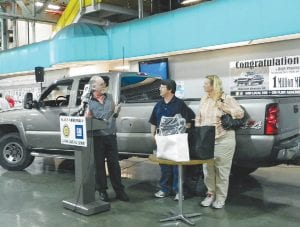 Hugh and Tammy Pennington of Delton were invited to the Flint Assembly Plant in May 2012 for a special recognition of their Flint-built Chevy Silverado surpassing one million miles on the road.