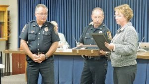 Police Chief George Sippert and Township Supervisor Karyn Miller made presentations to Officer Joel Jeakle, acknowledging his retirement.