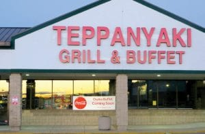 A sign is up announcing the soon-to-open Japanese-style restaurant in the Genesee Crossing Shopping Plaza on Miller Road, former site of Teppanyaki Grill and Old Country Buffet.