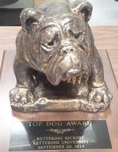 Megatron Oracles, Team 314 of CAHS, brought home this Top Dog trophy from competition at the Kettering Kickoff.