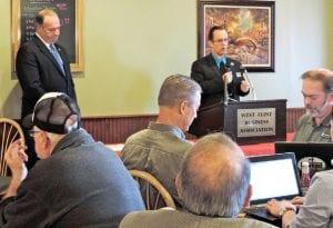 Democrat Congressman Dan Kildee debates Republican Challenger Allen Hardwick at the West Flint Business Association meeting last week.