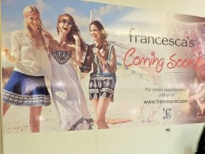 Francesca's, a women's boutique, will occupy a space in the Macy's wing. Right, Planet Fitness is under construction in the mall's Burlington wing.