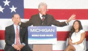 PREACHING TO THE SAVED – Is what Bill Clinton said to the audience, in remarks promoting the democratic ticket in Michigan during his Oct. 22 appearance in Flint. From left: Congressman Dan Kildee, former President Bill Clinton, and Senate Candidate Vanessa Guerra (Saginaw).