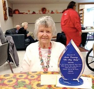 Marie Conway recently was honored as Volunteer of the Year in recognition of years of service to the Carman-Ainsworth Senior Citizens Center.
