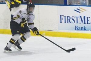 UM-Flint's Jordy Makranyi skates through the neutral zone during UM-Flint's win over Toledo on Nov. 7.
