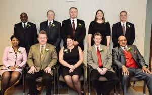 The Greater Flint Area Sports Hall of Fame held its 35th annual induction banquet Saturday night at the Genesys Conference and Banquet Center. The 2014 inductees were (standing, left to right) Brian Carpenter, Keith Richardson, Jeff Hamilton, the 1991 Powers Catholic girls basketball team (represented by Lisa Negri), Steve Smith, and (seated) Lorrie Thornton, the 1977 Holy Rosary football team (represented by Mike Ayre), Bob Perani (represented by daughter Lahna Ward), Bud Stebbins (represented by son Matt Stebbins), and the 1978 Flint Northern boys basketball team (represented by Craig Tucker).