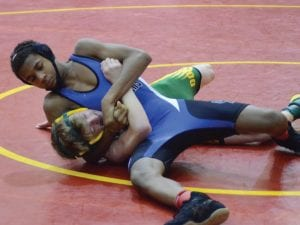 Carman-Ainsworth's Kenyon Jackson competes at the Genesee County invitational last Saturday hosted by Davison.