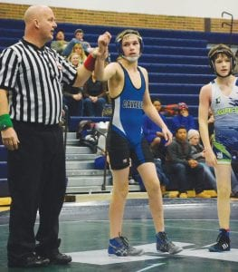 Jacob Yost earned a victory for the Cavaliers in conference competition at 112 pounds last week.