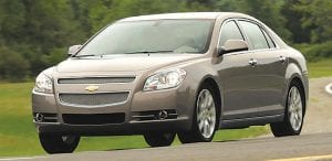 The Chevrolet Malibu is the Midsize Car leader in the latest JD Power Dependability Survey. The 2015 study tracked 2012 model year vehicles in their third year of ownership. (2012 Malibu pictured.)