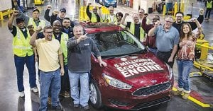 Ford's 5-millionth vehicle with an EcoBoost engine, a 2015 Focus, rolls off the line at Michigan Assembly Plant in Wayne, Michigan.