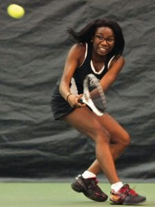 J'Lynn Corder plays at No. 1 singles for the Cavaliers.