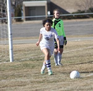 Alexis House gets ready to send the ball down field for Carman-Ainsworth.