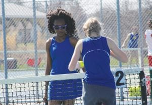 Senior Briaunna Hughes turned the balls over to her opponent at the Lapeer Quad 1 at No. 2 Singles.