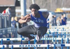 Amir Jackson and the Cavaliers dominated the hurdles events in the Jon Runyan Classic last Friday at Carman-Ainsworth Junior High, taking four of the top six places in the 110 hurdles, the top two spots in the 300 hurdles and first in the shuttle hurdle relay.