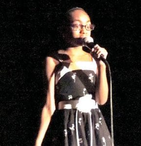 """E'Niyiah Leach was introduced as a little lady with a big voice for her performance of """"Talking to the Moon."""""""