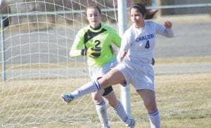 Carman-Ainsworth keeper Arianna Vantine backs up Mariel Hernandez during a home game.