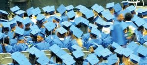 A sea of Cavalier blue caps bobbed up and down as the Class of 2015 rose to accept their diplomas.