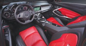 An all-new, driver-focused interior in the 2016 Chevrolet Camaro features performanceoptimized ergonomics, including new seats, a new, flat-bottom steering wheel and a new center console designed for easier manual-transmission shifting.