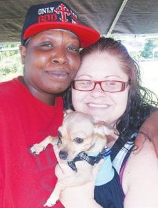 Erica Johnson and Felicia Wynn of Mundy Township attended the Tails & Trails fundraiser with Martini.