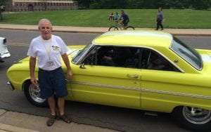 Pat White, who was traveling with his wife on the promotional tour, and their1963 Ford Falcon.