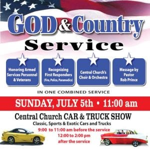 An annual car and truck show is part of the God & Country Service this Sunday at the Central Church of the Nazarene.