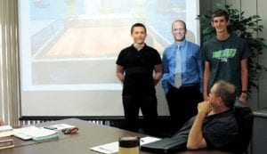 C-A Instructor Brian Klein introduced two of his top students Skyler Shippy and Tyler Pangerl who built an exceptional wooden pingpong table in the Design and Build Class.