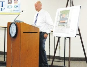 Eric Carter, an engineer for Weihe Engineers of Indianapolis, presented plans to the township Planning Commission to rebuild the Speedway station at Bristol Road and Holiday Drive.
