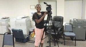 CAHS senior Randi Richardson honed her skills as a videographer at the July Flint Township board meetings.