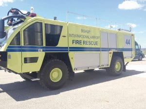 Flint Bishop's new aircraft rescue firefighting truck was delivered last week.
