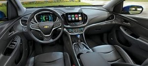 The all-new 2016 Chevrolet Volt electric car with extended range showcases a new jet black interior along with a sleeker, sportier design that offers 50 miles of EV range, greater efficiency and stronger acceleration.