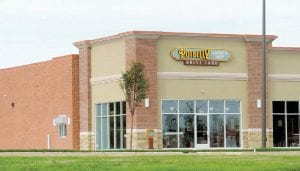 Exterior signage is up as the Potbelly Sandwich Shop prepares to be the first of three businesses to open in a newly built strip mall on Miller Road.