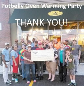 Priority Children received a big check as a result of a pre-opening fundraising event at the new Potbelly Sandwich Shop on Miller Road.