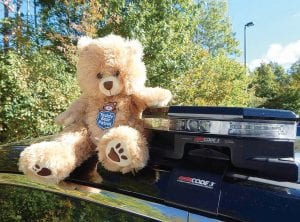 Teddy bears like this one are kept in patrol cars to comfort distraught children.