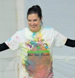 Dunk-tank style, Dillon Principal Gina Ryan donated herself as a human spray paint canvas for students who paid extra for the privilege.