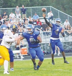Josh Jackson, throwing here against Mt. Pleasant earlier this season, passed for 213 yards in last Friday's game against Powers.