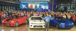 Chevrolet rolls out the 2016 Camaro Monday, October 26, 2015, as it announces the Camaro will begin shipping to dealers from General Motors' Lansing Grand River Assembly later this week in Lansing, Michigan. (Photo by Jeffrey Sauger for Chevrolet)