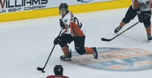 Flint's Mathieu Henderson looks for a passing outlet during Saturday's game against Owen Sound.