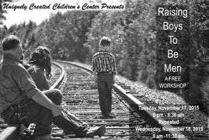 Free workshop designed to help place boys on a positive track towards manhood.