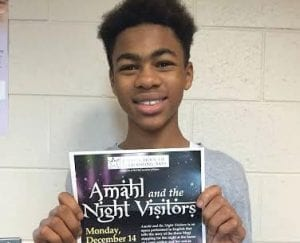 "Melvin A. Bishop, a seventh grader at CAMS, has the lead role in this year's performance of ""Amahl and the Night Visitors."