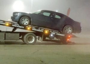 Wrapping up at about 8:30 p.m. Monday, a police officer escorted a wrecker driver who collected the victim's car from the Sears parking lot.