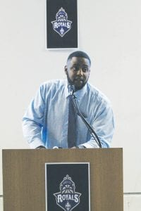 Vehicle City Royals owner Mykel Darrough speaks at a press conference announcing the team's arrival last Thursday at the Flint Farmer's Market.