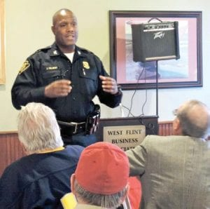 Flint Police Chief James Tolbert told the West Flint Business Association about initiatives underway to reduce crime.