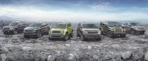 The 2016 Jeep 75th Anniversary edition complete model lineup.