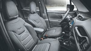 The 2016 Jeep Renegade Dawn of Justice Special Edition interior.