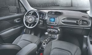 The cockpit of the 2016 Jeep Renegade Dawn of Justice Special Edition.