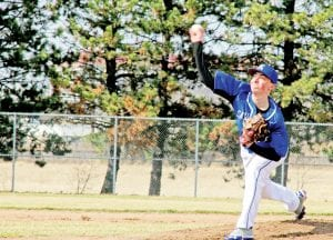 Austin Jerome delivers the pitch for the Cavaliers varsity last season.