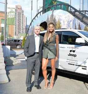 Ciara with Jeep brand manager Scott Tallon at Camp Jeep.