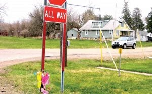 Flowers have been placed at the intersection of Court and Dye in memory of Taylor Kerckaert, 15, who died there on April 1, as a result of a car accident.