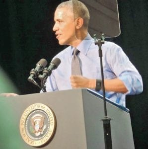 President Obama spoke to a crowd of more than 1,100 people at Flint Northwestern High School. He also met privately with a group of residents to talk about their issues with Flint's tainted water supply.